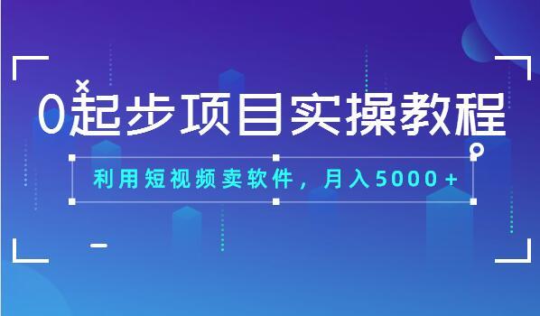 0起步项目实操教程:利用短视频卖软件,月入5000+